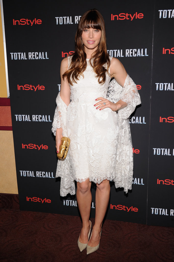 Her ethereal white lace Elie Saab Couture number turned heads at the NYC premiere.