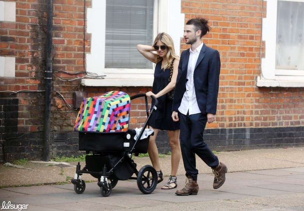 Sienna Miller and Tom Sturridge walked in London with daughter Marlowe.