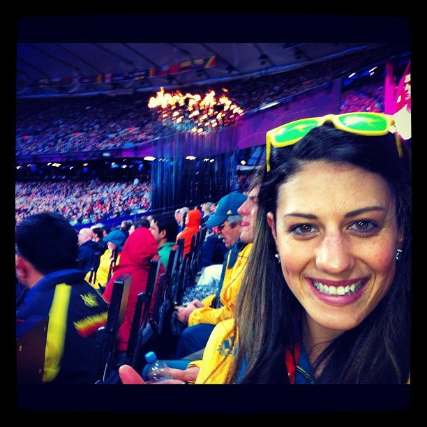 Stephanie Rice's first time at the Stadium was to watch and support Sally Pearson. Source: Instagram user itsstephrice