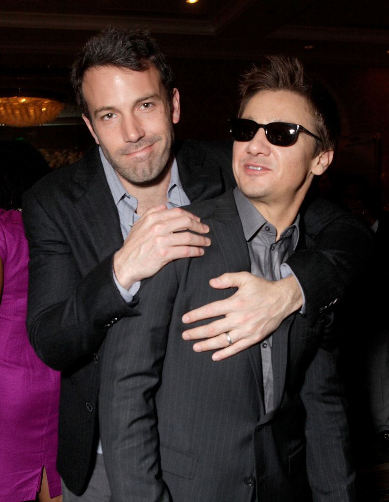 Ben Affleck gave his The Town co-star Jeremy Renner a hug inside LA's BAFTA Awards in January 2011.