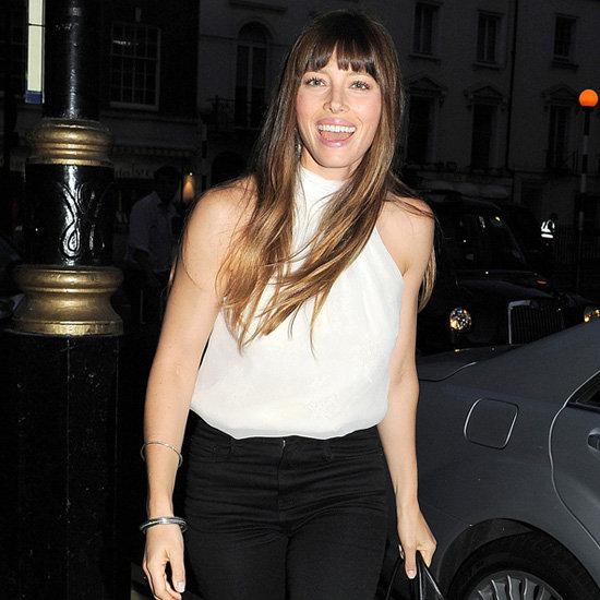Jessica Biel Wearing White Halter Top