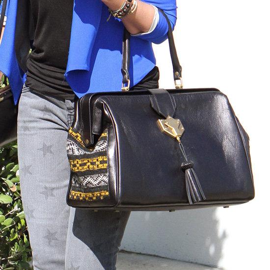 Jessica Alba's Black Tribal-Print Bag