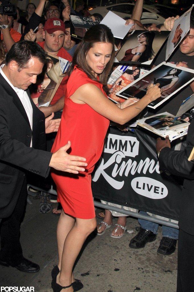 Jennifer Garner wore red.