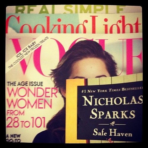 POPSUGAR Celebrity had a lot of weekend reading to get through, including Safe Haven by Nicholas Sparks.