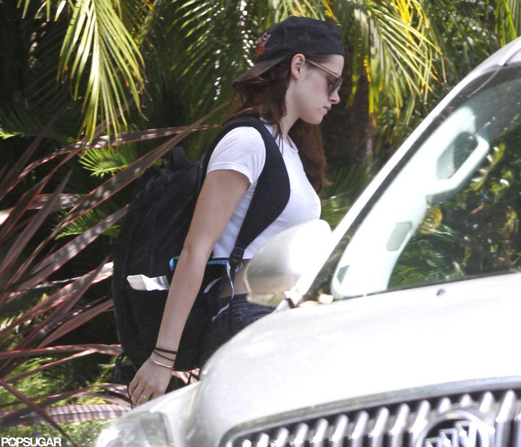 Kristen Stewart wore a backward hat.