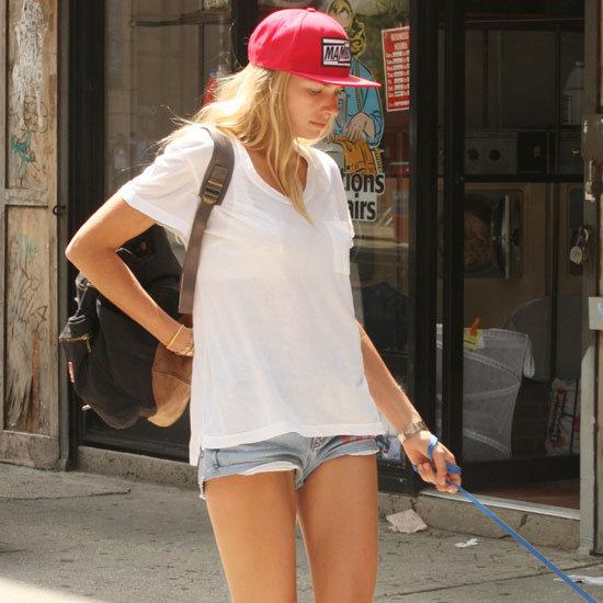 Jessica Hart Wearing Denim Cutoffs