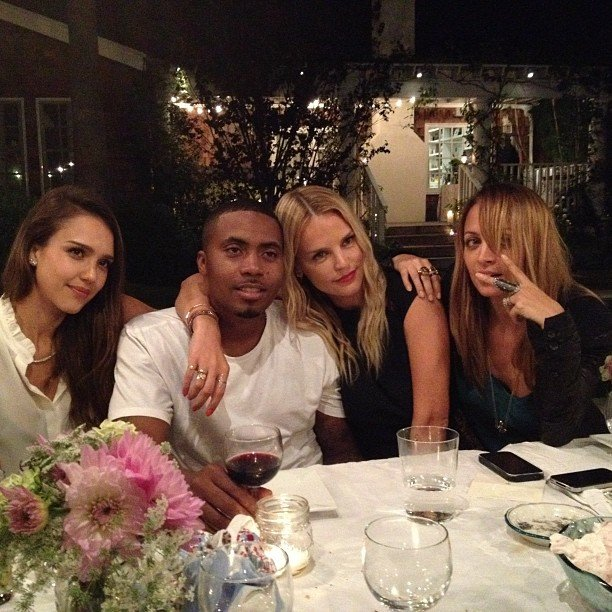 Joel Madden captured a snap of wife Nicole Richie, Jessica Alba, Kelly Sawyer and Nas. Source: Instagram user joelmadden