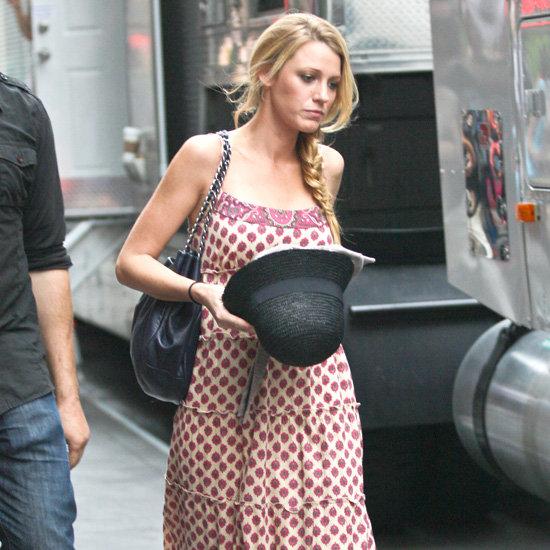 Blake Lively Wearing a Printed Maxi Dress