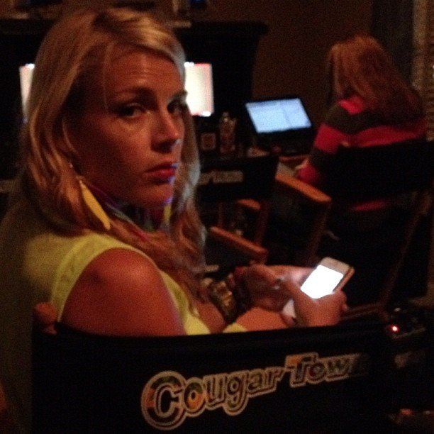 Josh Hopkins spotted Busy Philipps on the set of Cougar Town. Source: Instagram user mrjoshhopkins
