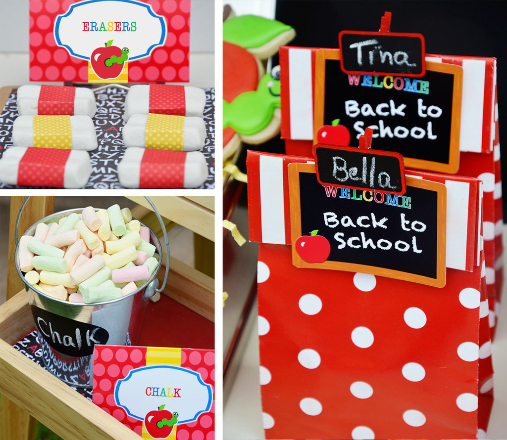 Edible school supplies a back to school party with lots for Back to school party decoration ideas