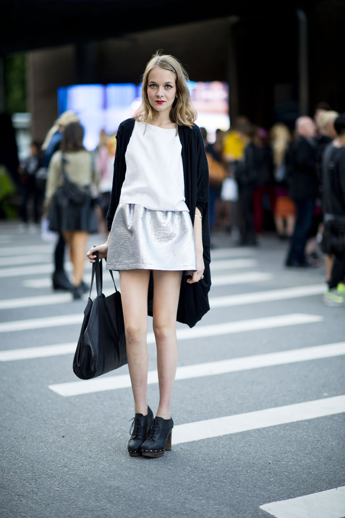 Tweedy metallics give the seasonal vibe a dose of sparkle, but they're still easy enough to pull off every day — just take note of this style pro and temper yours with black basics. Source: Adam Katz Sinding