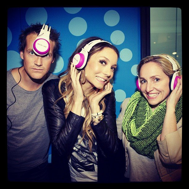 Jules Lund, Ricki-Lee Coulter and Fifi Box tried on some limited edition Fear and Freedom headphones. Source: Instagram user therickilee