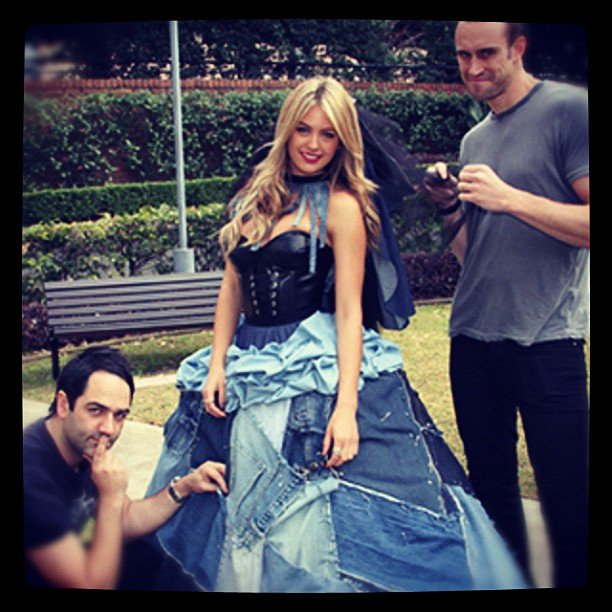 Jesinta Campbell modelled a denim wedding dress designed by radio duo Fitzy and Wippa. Source: Instagram user jesintac