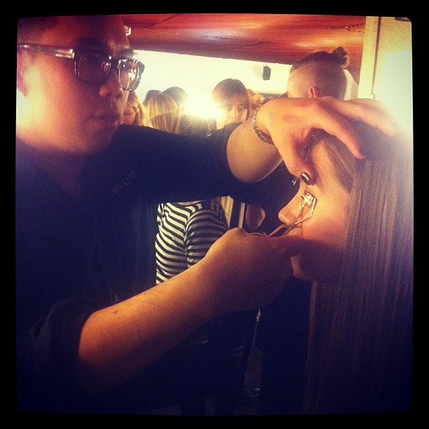 Maybelline New York's Nigel Stanislaus getting the models catwalk-ready at the Mercedes-Benz Fashion Festival.