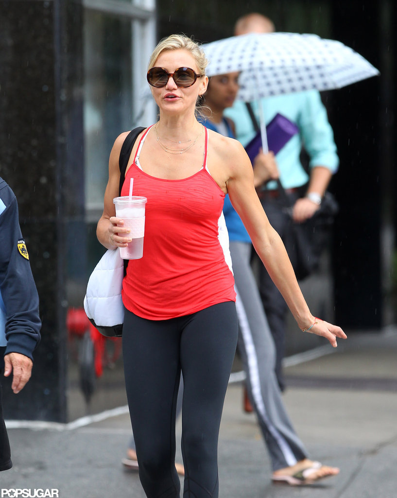 Cameron Diaz showed off her toned arms in a tank top.