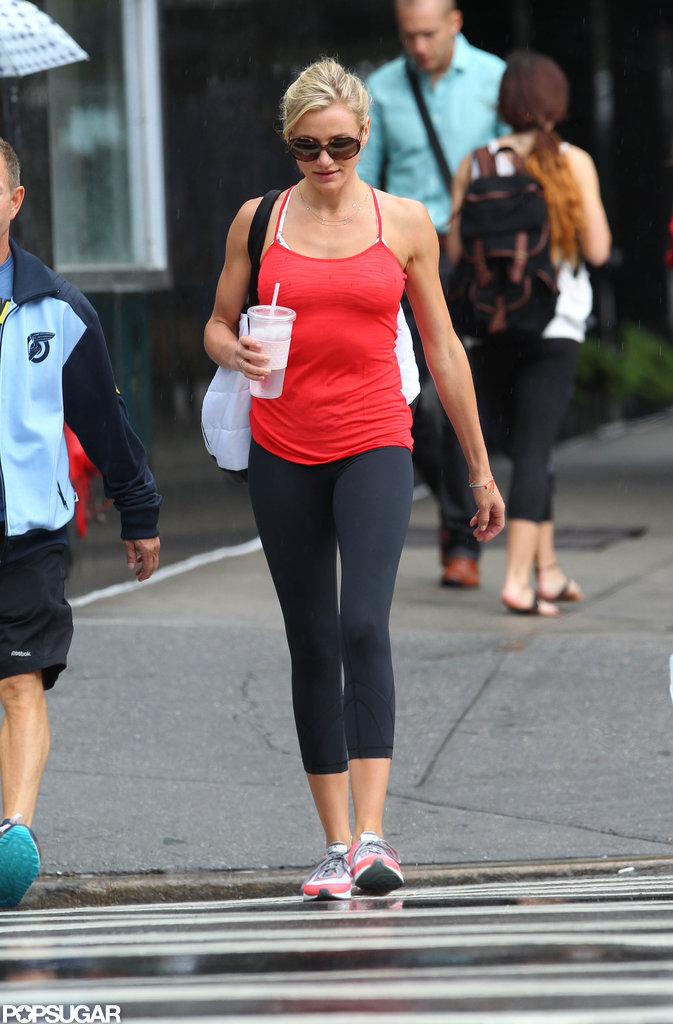Cameron Diaz sipped on a drink while heading to the gym.
