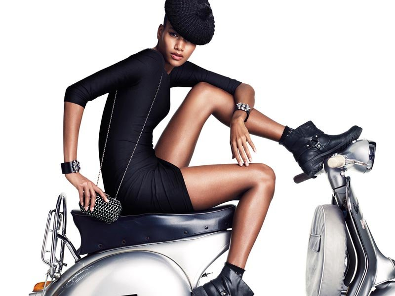 Arlenis Sosa makes us want our own pair of H&M moto boots.
