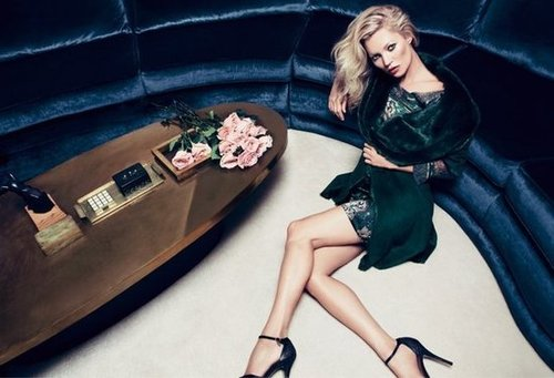 Kate Moss reprised her role as the face of Milan-based Liu Jo's campaign.