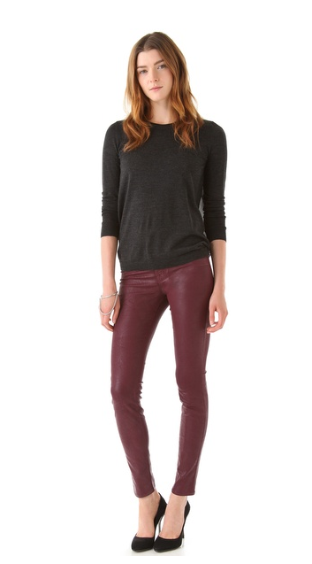 This season, we're reaching for skinnies made over in Autumn's rich — and totally on-trend — oxblood hue.  J brand 811 Mid Rise Skinny Jeans ($218)