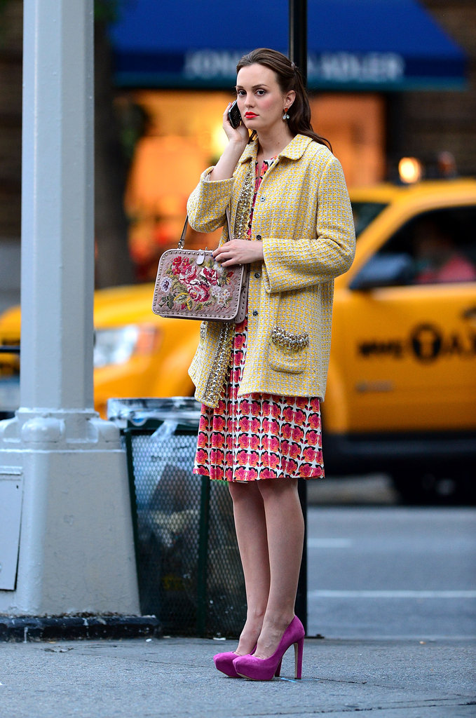 We couldn't think of a better Blair Waldorf outfit than this one — Leighton Meester sported an array of bold colored tweeds along with fuchsia pumps and a floral-embroidered Valentino bag.
