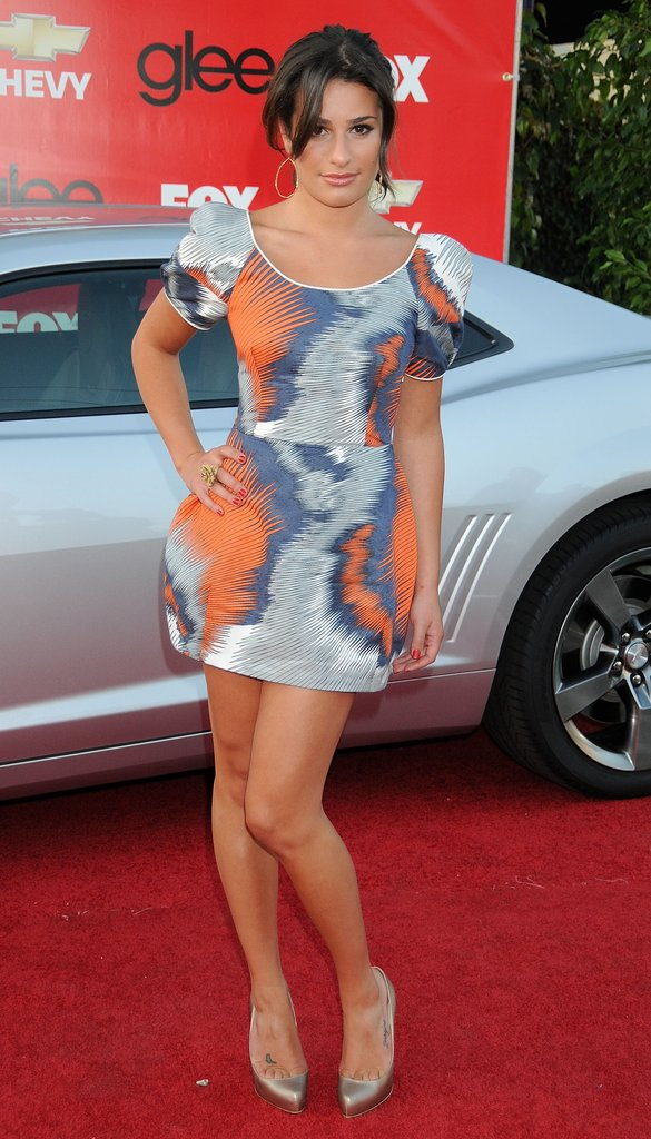 Lea's printed Thread Social mini stole the show at a Glee screening in 2009.