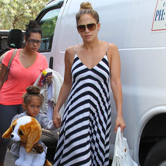 Jennifer Lopez Wearing Striped Maxi Dress