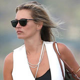 Kate Moss Marries Black and White in Striped Shorts and a White Vest
