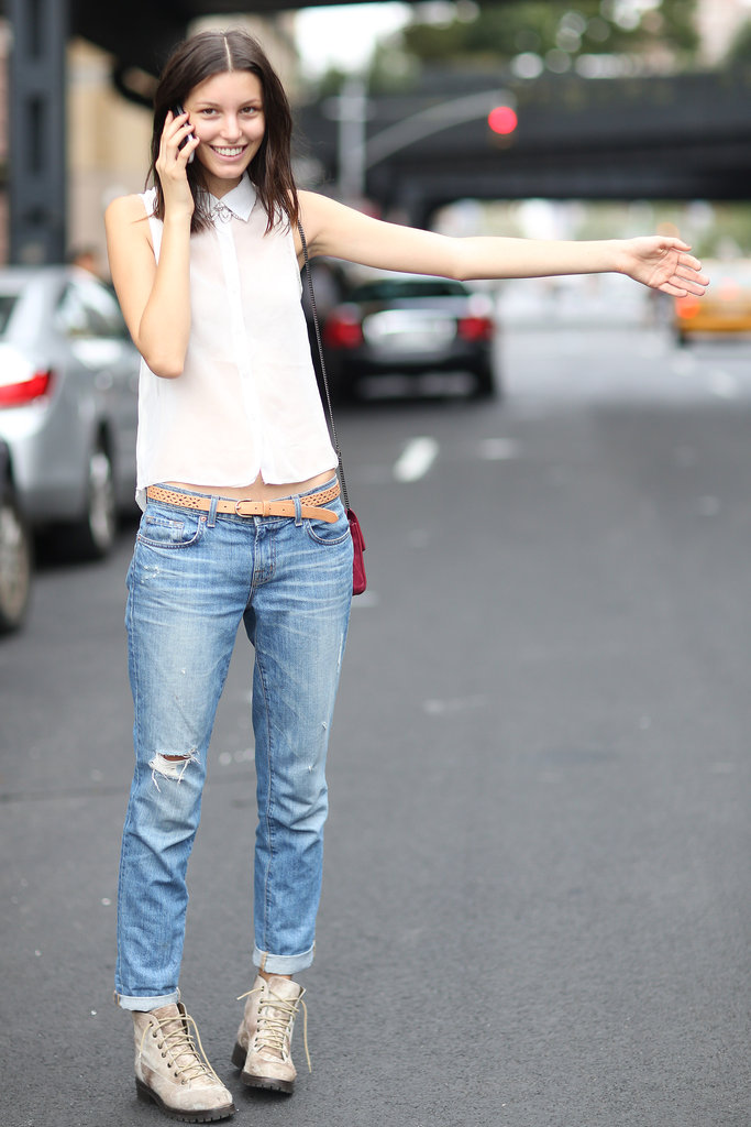 A sheer button-down kept this denim look cool — as did a pair of lace-up boots. Source: Greg Kessler