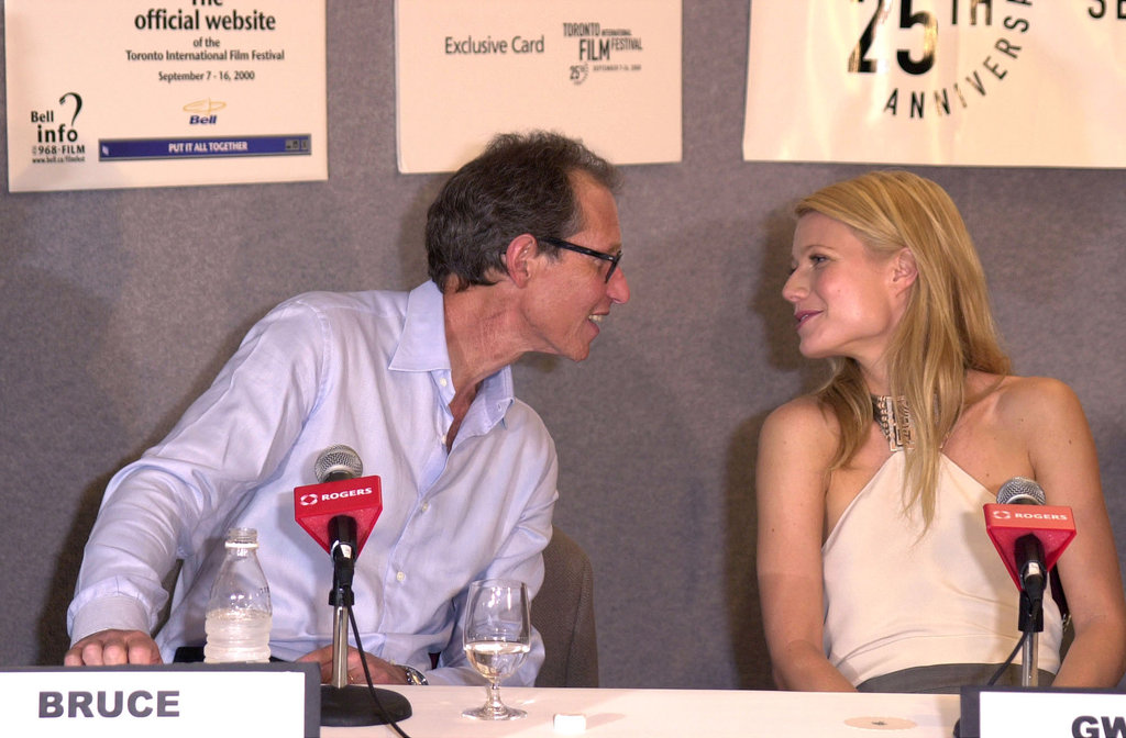 Bruce and Gwyneth Paltrow sat side by side during a panel discussion in 2000.