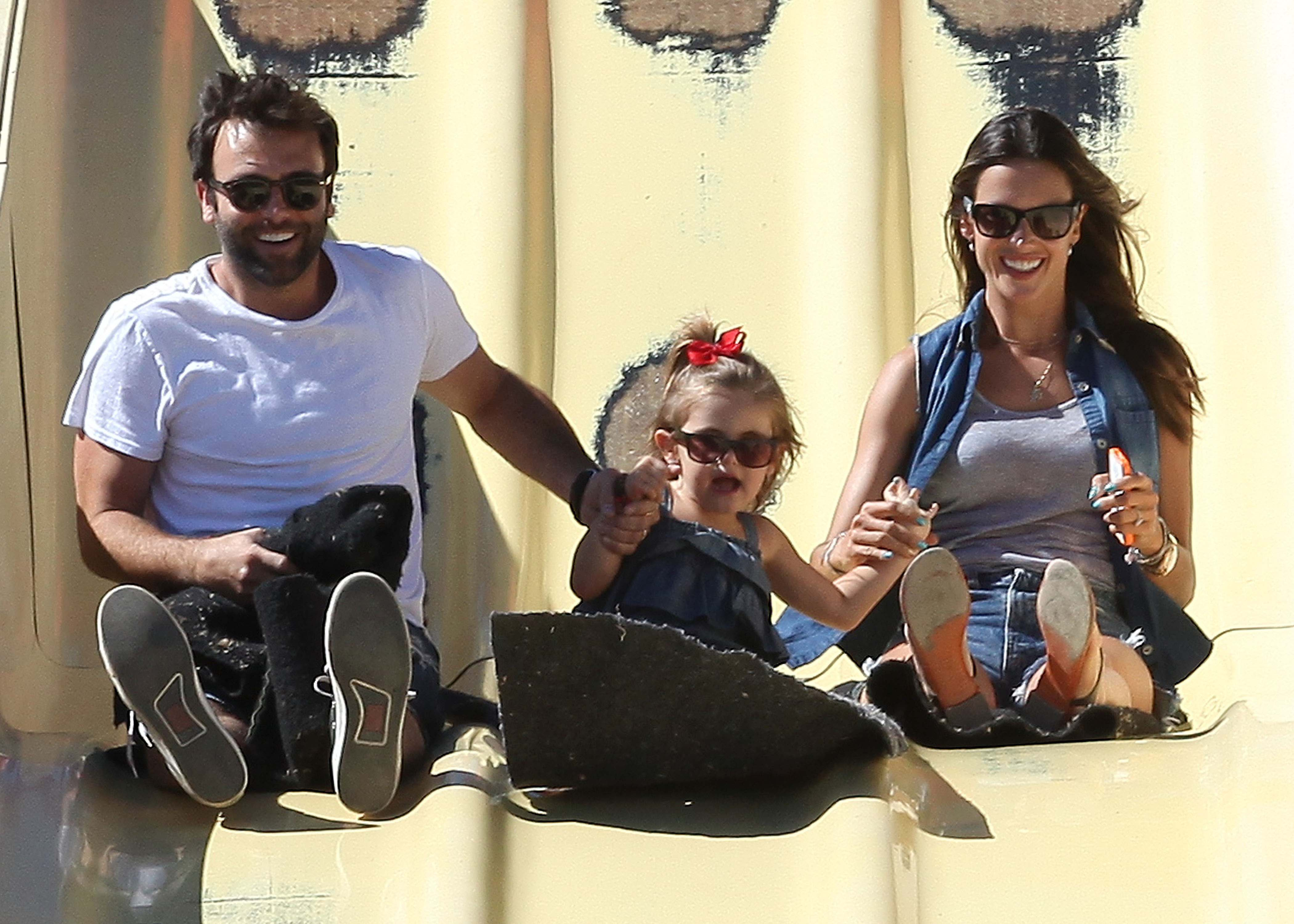 Alessandra Ambrosio and Jamie Mazur went on a slide with daughter Anja at the Malibu Chili Cook-Off.
