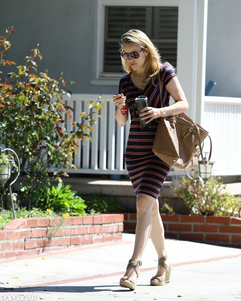 Rachel McAdams wore wedges and a striped dress to stop by a friend's house in LA.