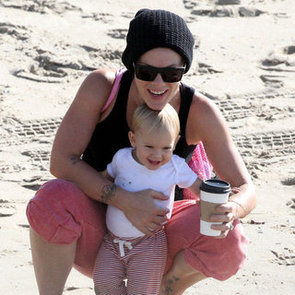 Pink at the Beach With Willow   Pictures