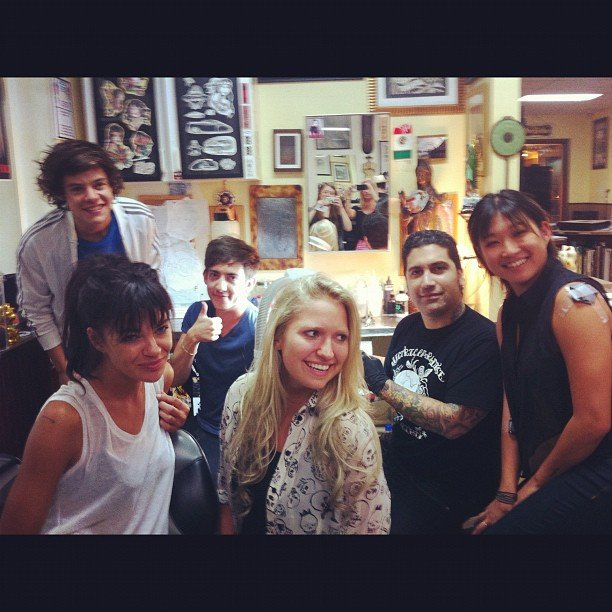 Jessica Szohr, Kevin McHale, Jenna Ushkowitz, and Harry Styles got tattoos together. Source: Instagram user itsmejessicaszohr