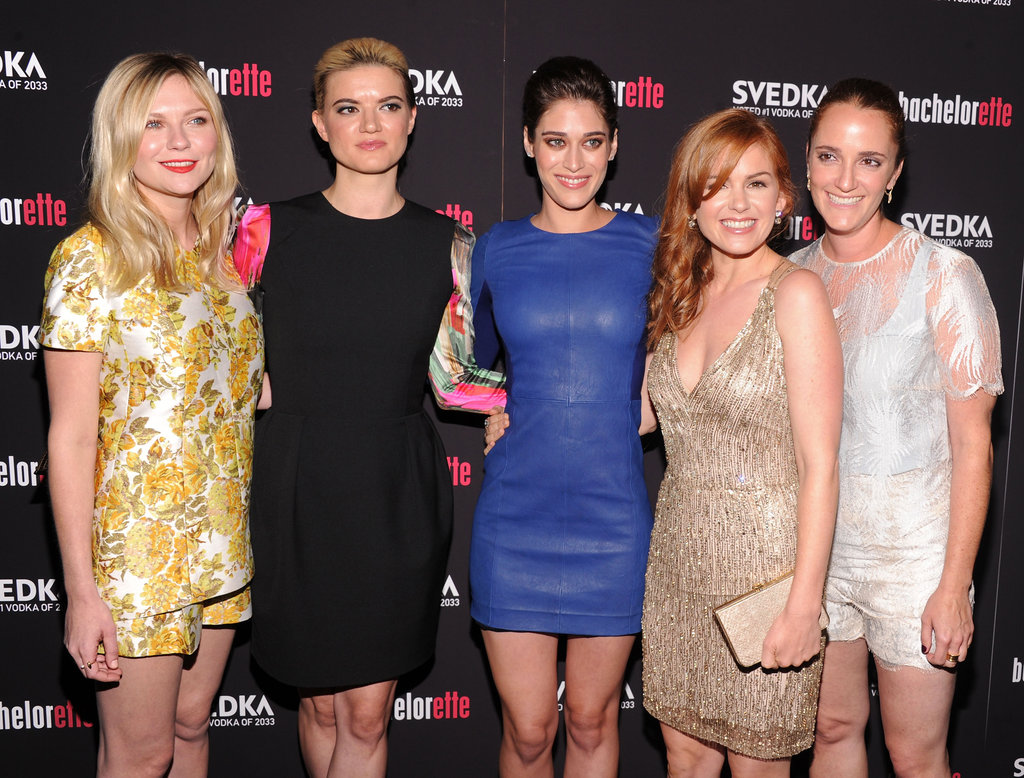 Kirsten Dunst, Lizzy Caplan, and Isla Fisher celebrated Bachelorette with writer and director Leslye Headland.