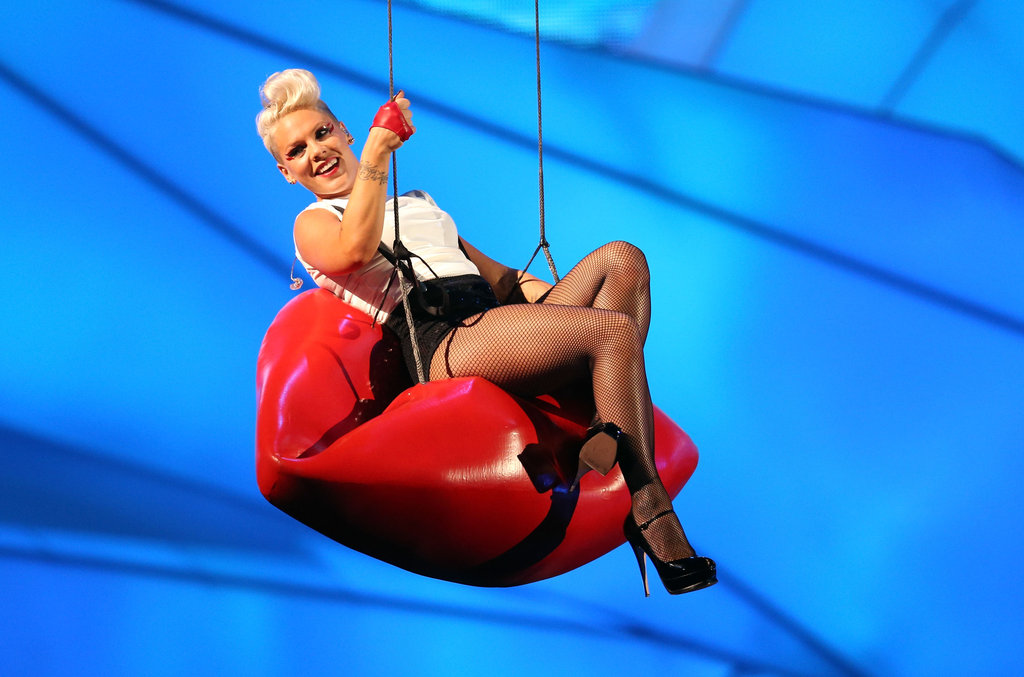 Pink hung from a pair of lips at the VMAs.