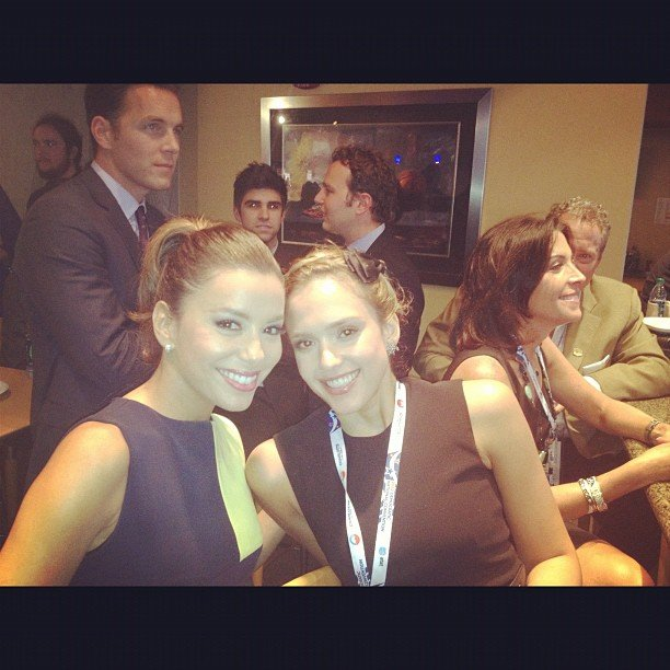 Friends Eva Longoria and Jessica Alba sat together at the DNC. Source: Instagram user jessicaalba