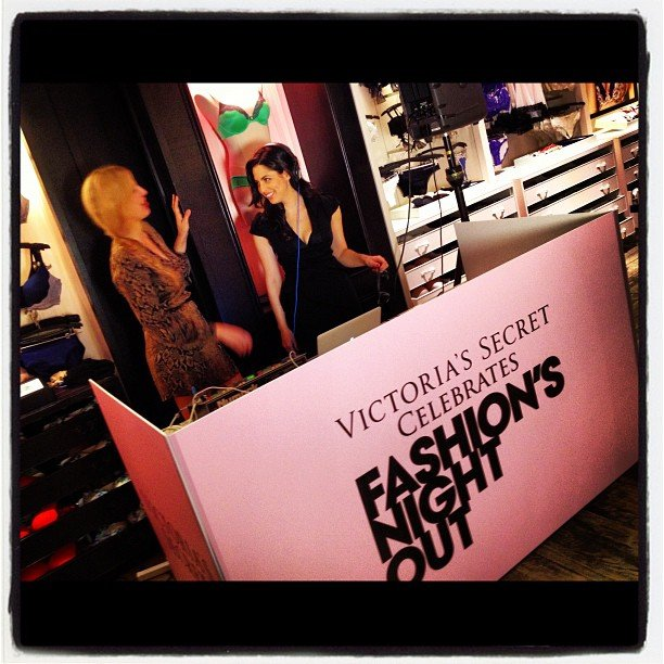 The supercute deejays spun some rad tunes at the Victoria's Secret in SoHo.
