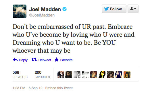 Joel Madden teaches some self love. Respect.