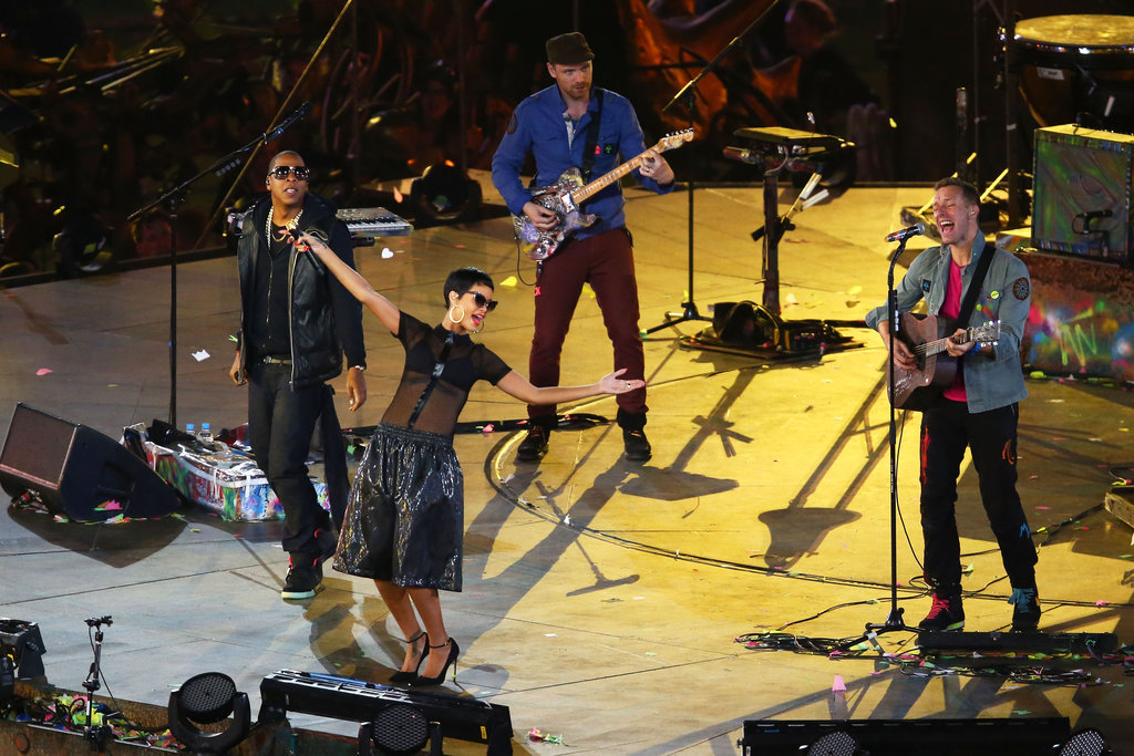 Rihanna, Jay-Z, and Chris Martin gave a performance for the London Paralympics closing ceremony.