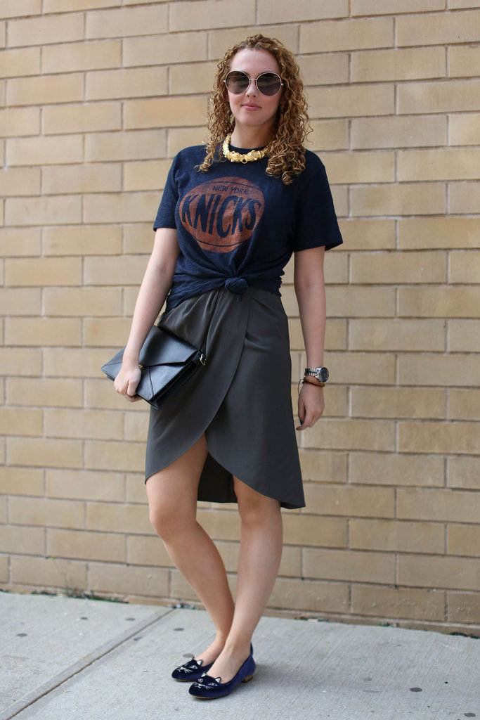 A t-shirt dressed down a wrap skirt, but the cheeky cat-face loafers supplied the statement factor.