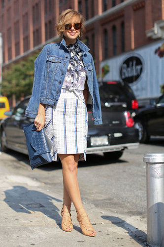 A blue-jean jacket injected a little Americana into a mixed print style.