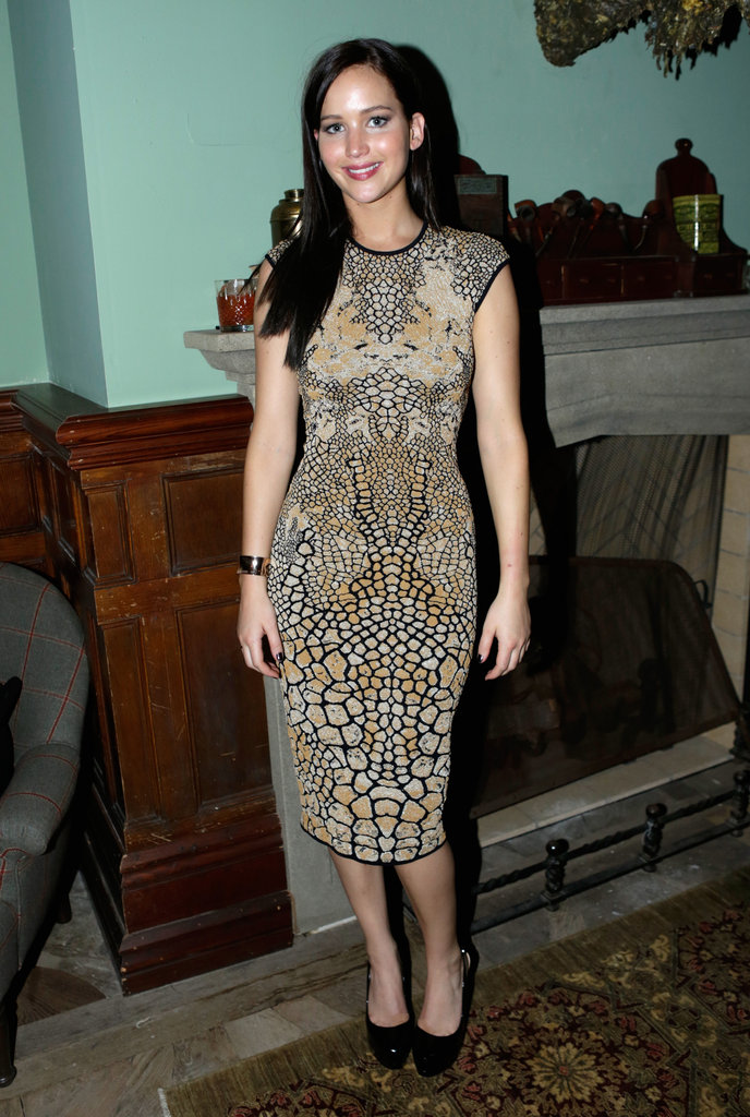 Jennifer poured on the printed charm in another fitted sheath at the Silver Linings Playbook premiere party.