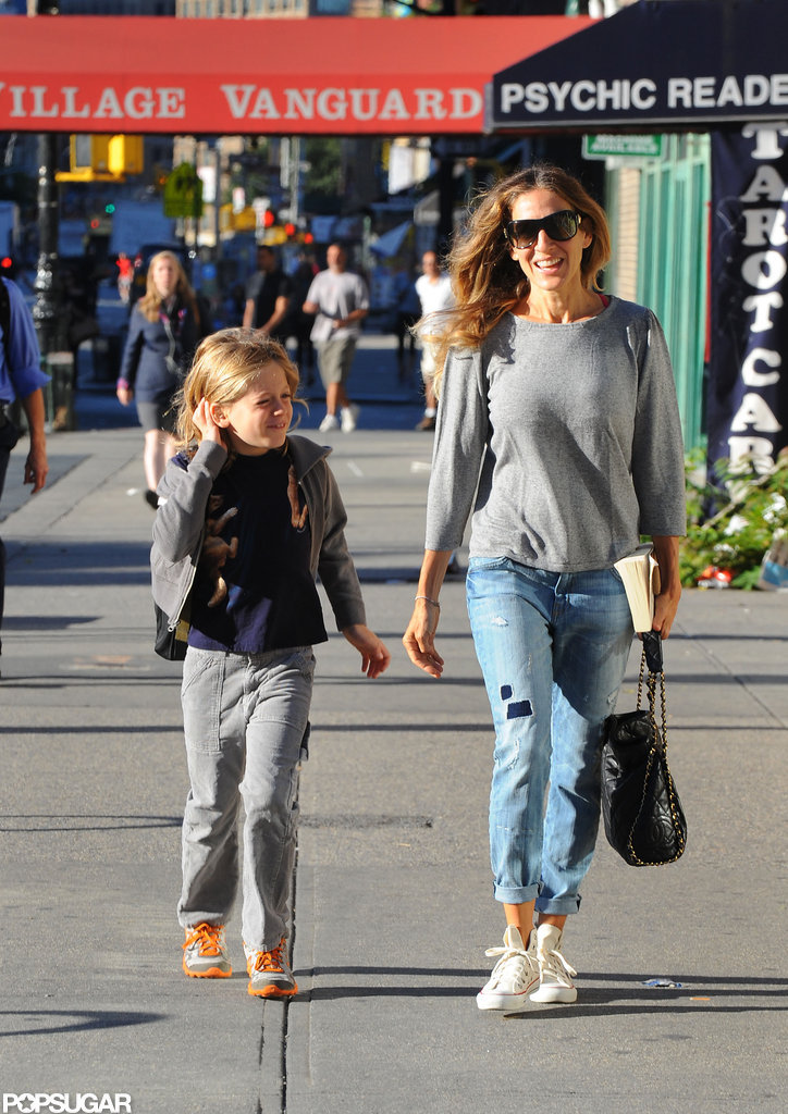 Sarah Jessica Parker had a laugh with son James Wilkie Broderick on the way to school in NYC.