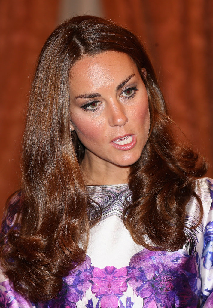 Kate Middleton wore her hair down.