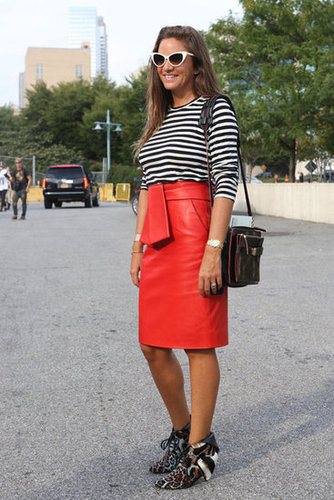 A brilliant brick-red leather skirt took classic stripes to a rocker-chic place.