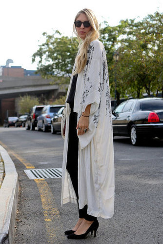Easy-glam, courtesy of a full-length kimono.