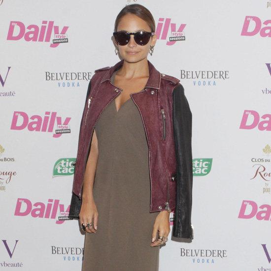 Nicole Richie Wearing Two Tone Leather Jacket