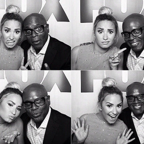 X Factor judges Demi Lovato and L.A. Reid joked around in a photo booth.  Source: Instagram user demilovat