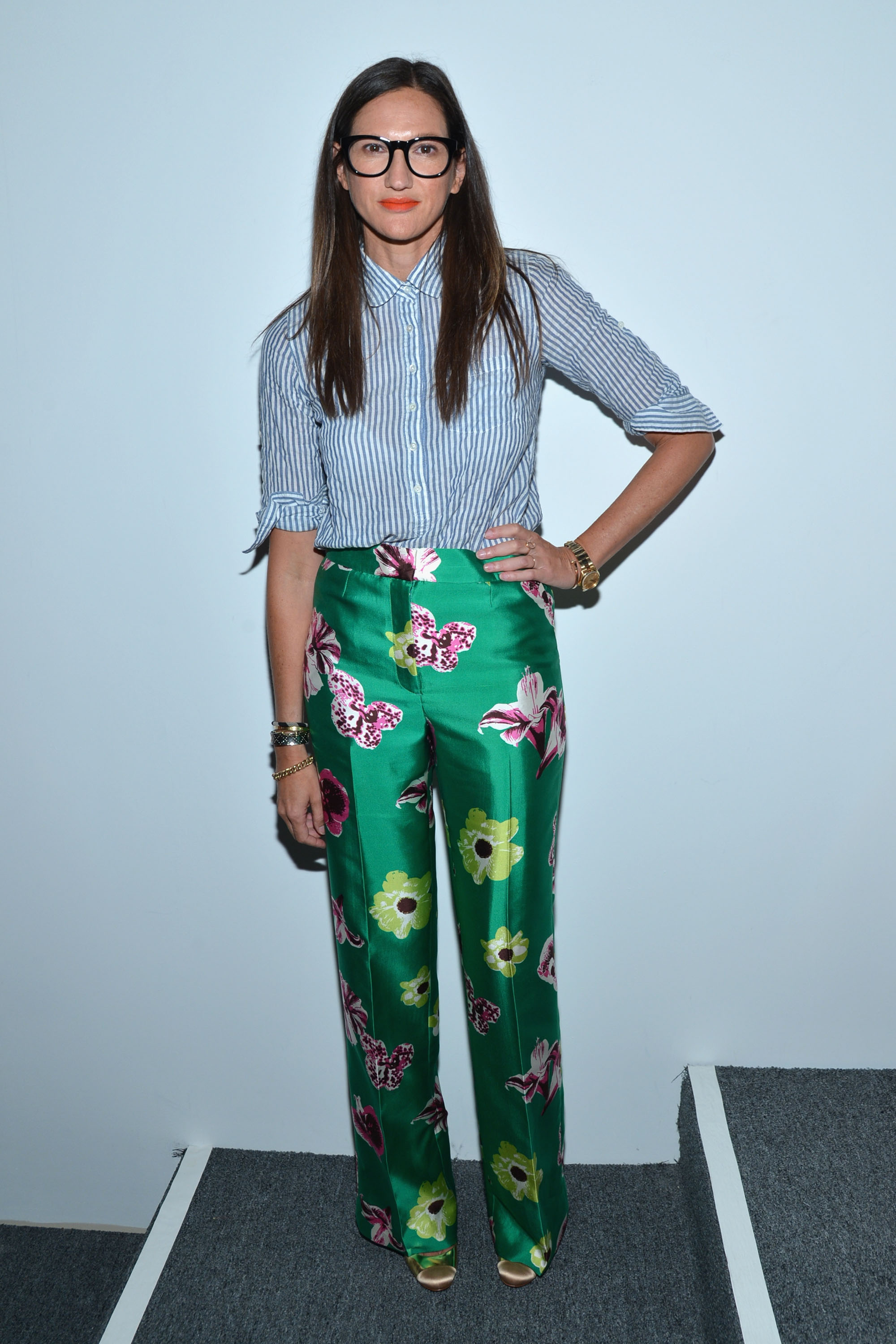 Jenna Lyons did her J.Crew mix and match thing at the label's Spring presentation in NYC.