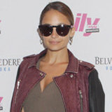 NYFW: Nicole Richie Rocks a Cool Two-Tone Leather Jacket